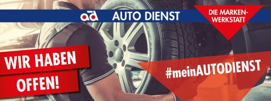 Logo Auto Dienst: Wir haben offen!